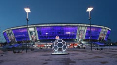 Donbass Arena stadium in Donetsk, Ukraine - stock footage