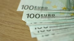 Financial transactions with euro banknotes Stock Footage