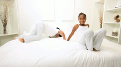 African American Children Playing Bedroom - stock footage