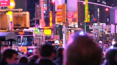 358 people Times Square at night Stock Footage