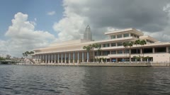 Tampa Convention Center from water Stock Footage