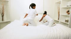 Little Ethnic Sisters Playing Bedroom Stock Footage