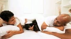Cute African American Siblings Fun Parents Bed - stock footage