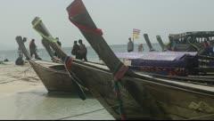 Krabi, Thailand - Long Tail Boat On Beach 01 Stock Footage