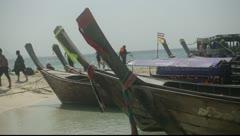 Krabi, Thailand - Long Tail Boat On Beach 02 Stock Footage