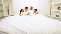 African American Family Weekend Breakfast Bed  Stock Footage