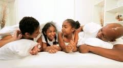 Ethnic Family Talking Bed Morning Stock Footage