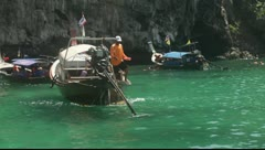 Krabi, Thailand - Long Tail Boats Achor 02 Stock Footage