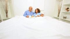 Elderly Ethnic Seniors Breakfast Bedroom - stock footage