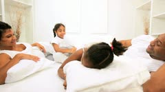 Little African American Girls Bedroom Pillow Fight Stock Footage
