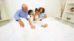 African American Family Generations Wireless Technology Bedroom - stock footage