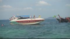 Krabi, Thailand - Speed Boat Anchor Stock Footage