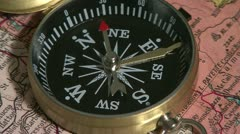 Compass on map 1 Stock Footage