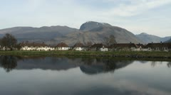 Ben Nevis and Caledonian Canal near Fort William Scotland Stock Footage