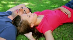 Peaceful couple lying on the grass while napping Stock Footage