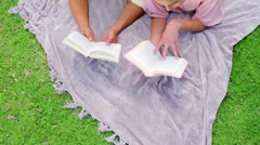 Happy couple reading books Stock Footage