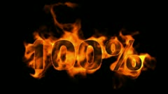 Sale  100%,burning hundred Percent,fire text. Stock Footage