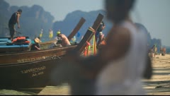 Krabi, Thailand - Long Tail Boat On Shore 03 - stock footage