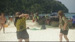 Krabi, Thailand - Tourists On Beach 02 Stock Footage
