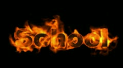 School word,fire text. Stock Footage