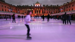 Ice Skating Rink in London Stock Footage