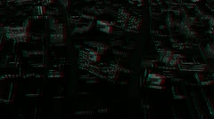 Above City Night Flight, Stereoscopic 3D Anaglyph, Red Cyan - stock footage
