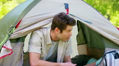 Couple in a tent Stock Footage