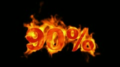 Sale Off 90%,burning ninety Percent Off,fire text. Stock Footage