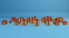 Stock Video Footage of Gift Boxes, Holiday Background with Alpha