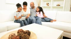 African American Family Home Wireless Tablet Stock Footage