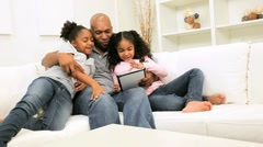 African American Single Parent Family Wireless Technology Stock Footage