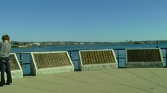 Sailor Memorial in Front of Ocean Stock Footage