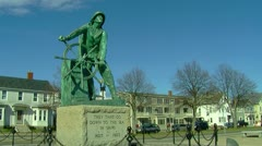 Wide Shot of Sailor Statue Stock Footage
