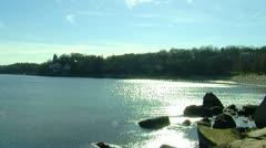 Sunlight on a New England Harbor Stock Footage