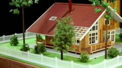Model of house and adjacent area with plants Stock Footage