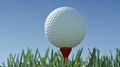 Close up golf ball and tee Stock Footage