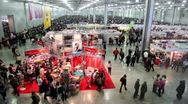 Stock Video Footage of Lot of people in large hangar at International Dog Show Eurasia 2011