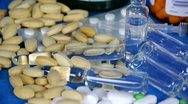 Many tablets,injection,syringe & capsules. Stock Footage