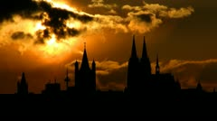 Germany Cologne Cathedral sunset Stock Footage