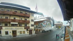Hotel Tyrol stands near road and shop Stock Footage