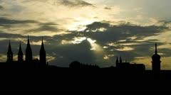 Germany Bamberg sunpassing Stock Footage