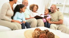 Extended Ethnic Family Looking Old Photographs Stock Footage