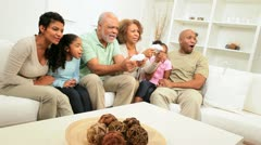 Generations Ethnic Family Excitement Playing Electronic Games Stock Footage