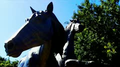 Galloping Horses Statue Section Stock Footage