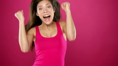 Excited winner woman celebrating Stock Footage