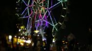 Stock Video Footage of Manila Bay Night Timelapse of Ferris Wheel