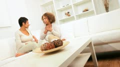 Ethnic Mother Daughter Enjoying Coffee and Chat - stock footage