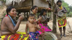 Embera Indigenous Women Sitting Panama Jungle Stock Footage