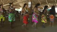 Panamanian Embera Women Dance Stock Footage