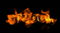 Burning school word,fire text. Stock Footage